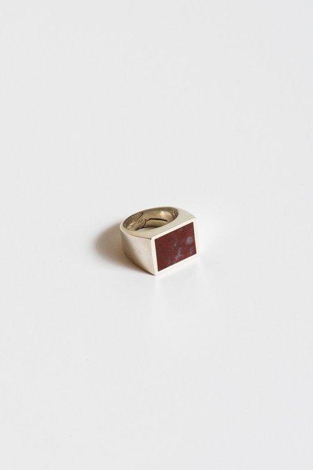 Legier Red Plum Agate Ring in Silver