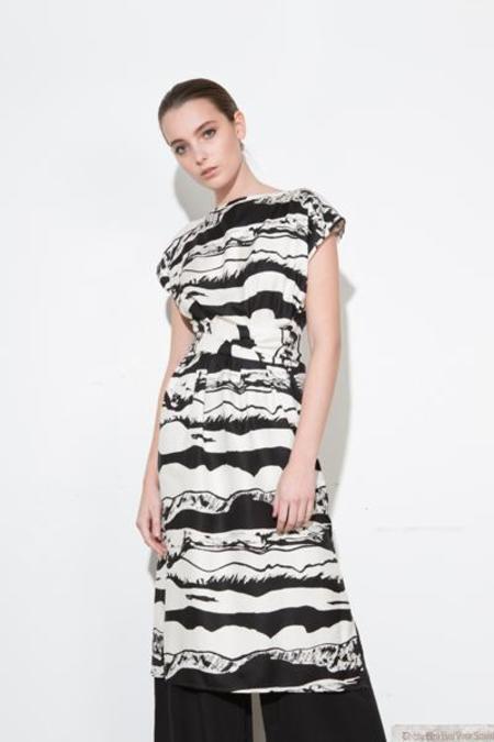 H. Fredriksson *F17 Landscape Wrap Dress - Black/White