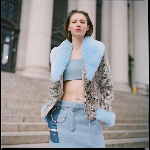 Kim Shui Baby Blue Fur Coat