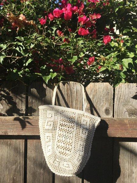 le Market Vintage Grecian Crochet Market Bag