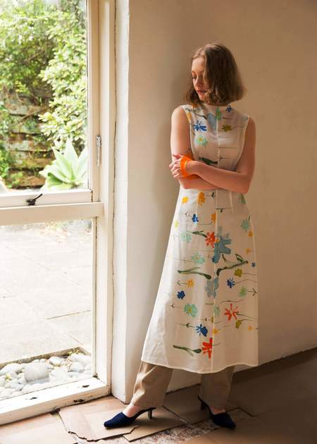 Penny Sage Double Fantasy Dress - Forget Me Not