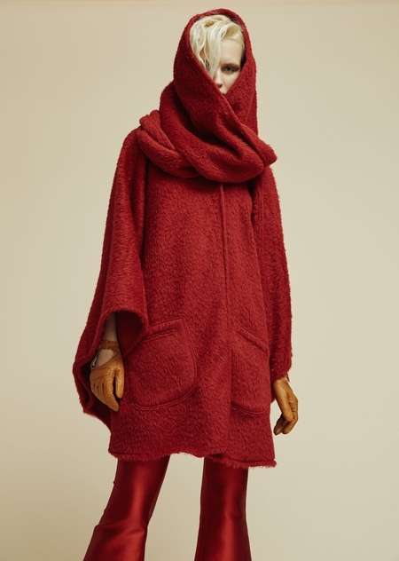 Lindsey Thornburg Scarlet Alpaca Mid-Length Cloak