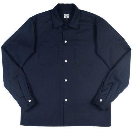 August Fifteenth California Shirt - Navy Wool Herringbone