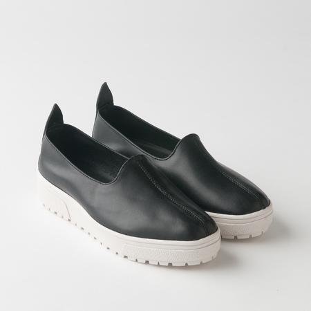 Nappa Platform Sneaker in Black