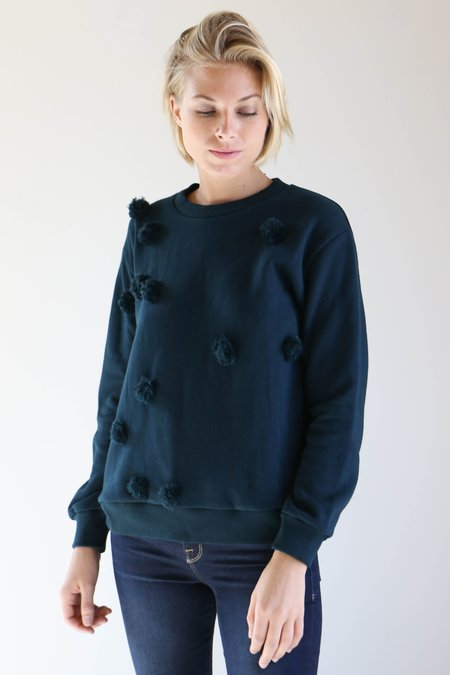 Correll Correll Pom Pom Sweatshirt in Dark Teal