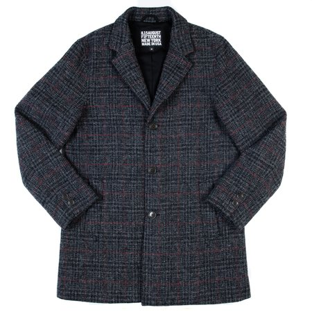 August Fifteenth Topper Coat - Grey with Red Harris Tweed