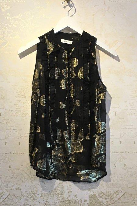 A.L.C. Tomei Sleeveless Chiffon Top with Metallic Print