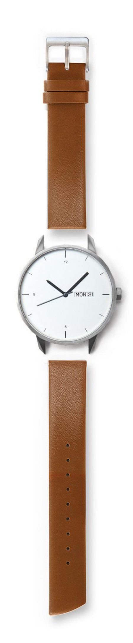 Tinker Watches 42mm Silver Watch Camel Strap