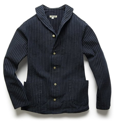 Fortune Goods: SHAWL JACKET IN INDIGO TICKING STRIPE