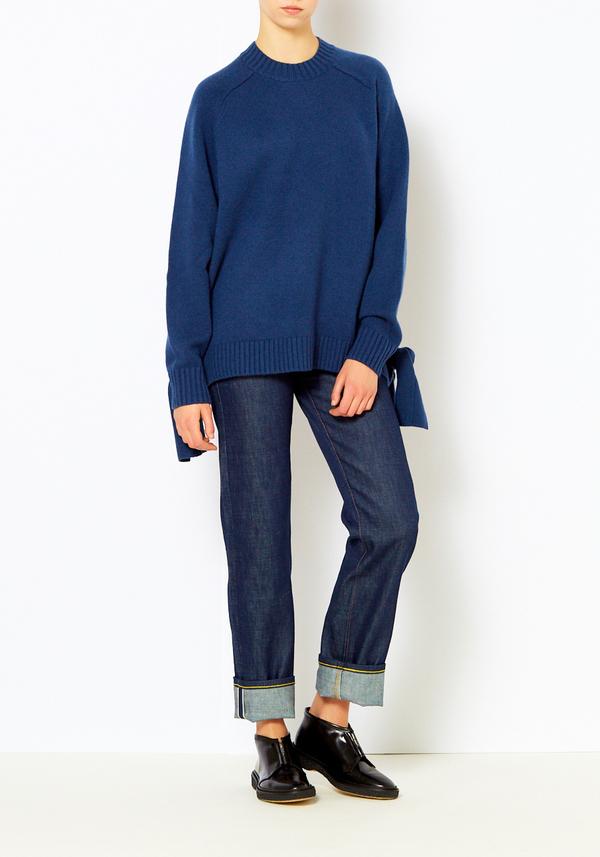 Tibi Denim Blue Cashmere Tie Sweater