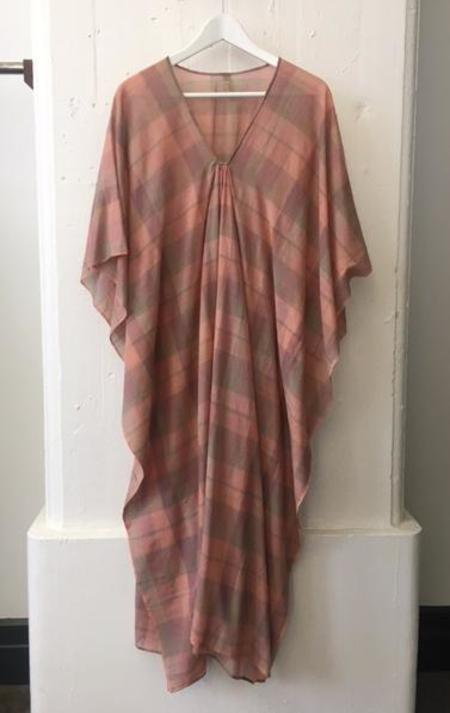 Two Sienna Plaid Rose Caftan