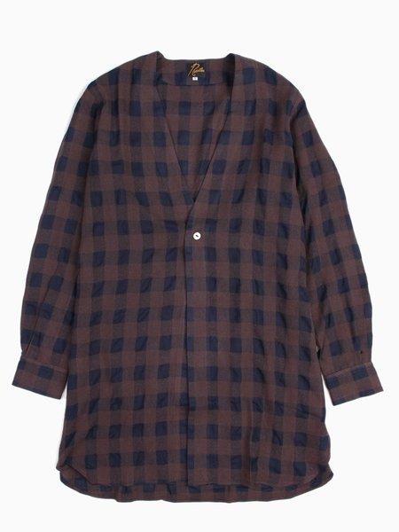 Needles One Button Cardigan Shirt - Block Plaid Brown