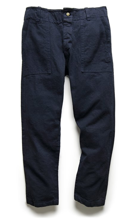 Fortune Goods 107 Pant In Navy Herringbone Twill