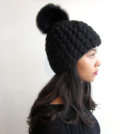 Mischa Lampert Beanie Pomster - Black/Black