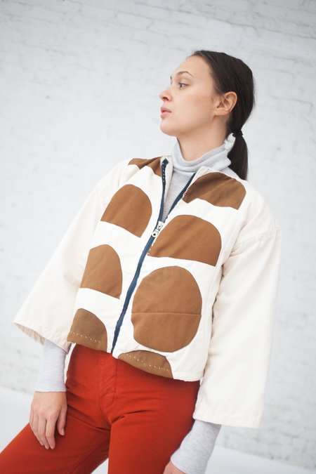 CMC Zippered Jacket in White/Brown