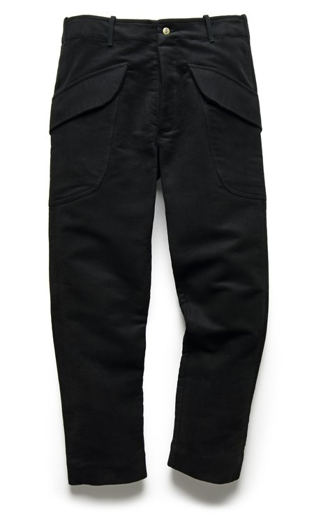 Fortune Goods Cargo Pant In Black Moleskin