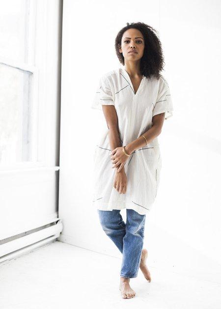 Uzi NYC V-Dress in Cream Beams