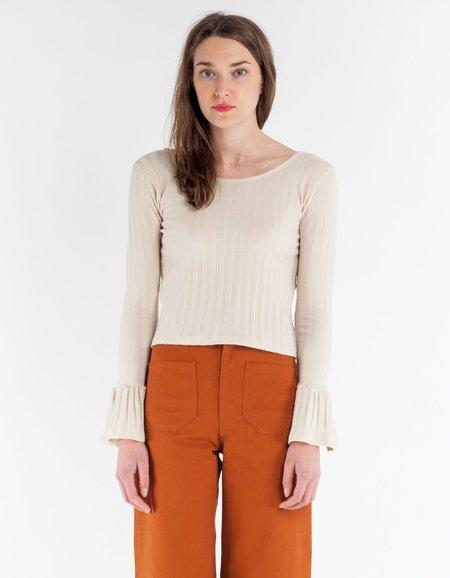 Lykke Wullf Bobby Bell Sleeve Top - Cream Rib Knit