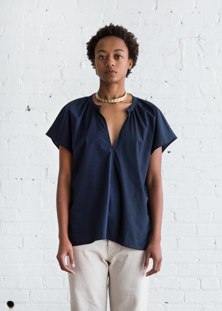 Erica Tanov Patti Cotton Blouse - Navy