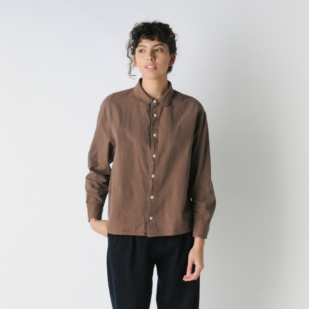 Older Brother Broken Twill Anti Fit Shirt in Chocolate Coffee