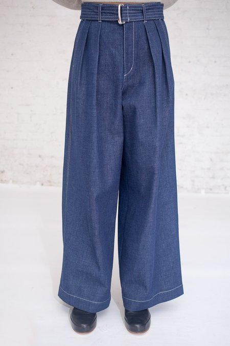 Tomorrowland Brushed Denim Pants in Blue