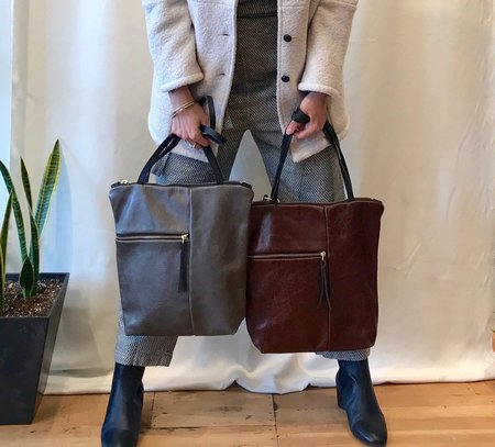 Eleven Thirty Meg Tote in Steel and Cognac