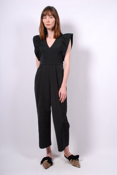 Tibi Stretch Faille Ruffle Jumpsuit - Black