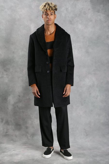 Maiden Noir Wool Overcoat w/ Shearling