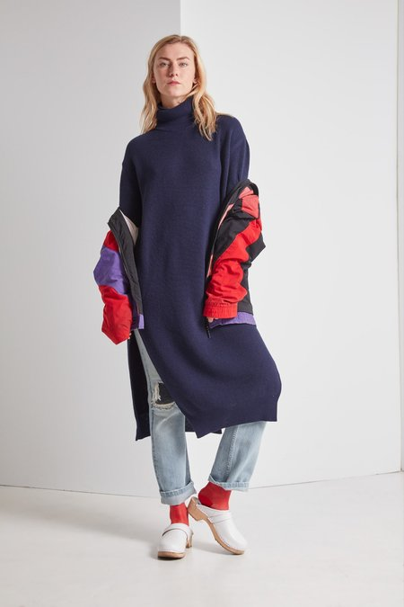 Nanushka Lotta Beta Knit Cocoon Dress - Navy