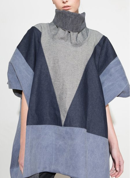 H. Fredriksson Mixed Denim Poncho