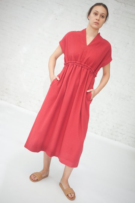 Cosmic Wonder Herbal Dyed Pure Woolen Dress in Natural Red