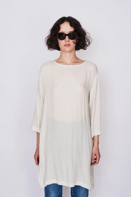 Black Crane Wool Long Top - Cream