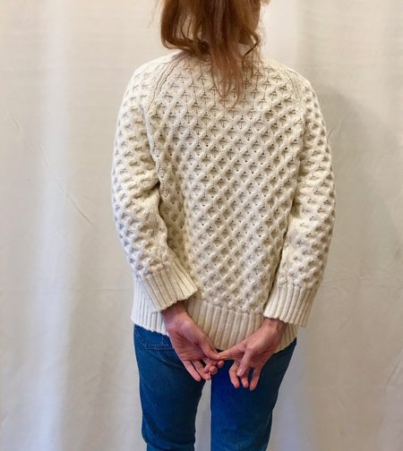 Micaela Greg Honeycomb Cable Sweater in Cream and Grey