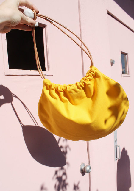 Jujumade Yellow Canvas Circle Tote