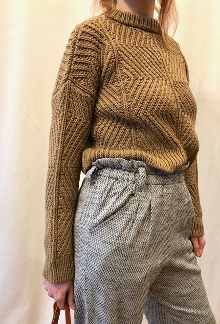 Micaela Greg Bevel Sweater in Caramel and Grey Melange