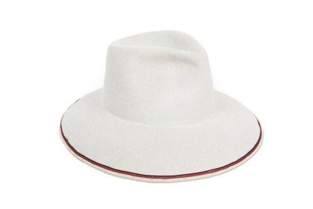 Clyde Wide Brim Pinch Hat in Alabaster with Tri Color Trim