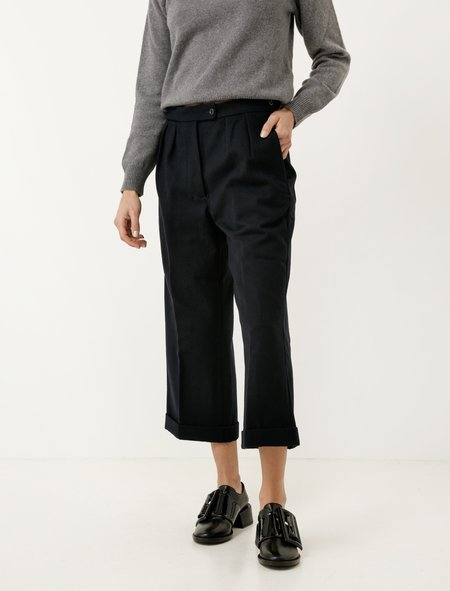 MHL by Margaret Howell Uniform Trousers Wool Cotton Drill - Navy