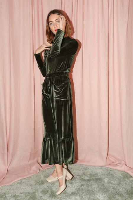 No.6 Ruffle Skirt in Forest Velvet