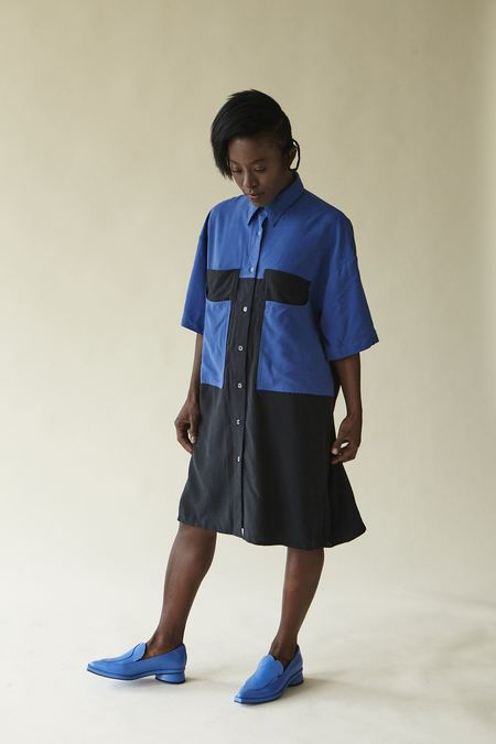 Megan Huntz Sanni Dress - Blue/Black