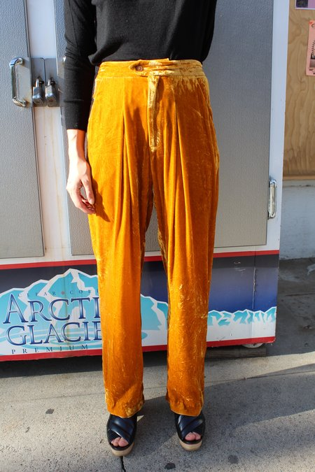 100% Silk Box Pleat Trouser - Gold