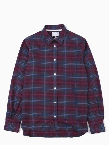 Norse Projects Hans Brushed Check Hematite Red