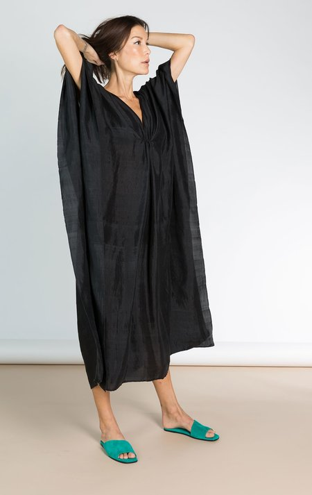 Two Black Handwoven Silk Caftan