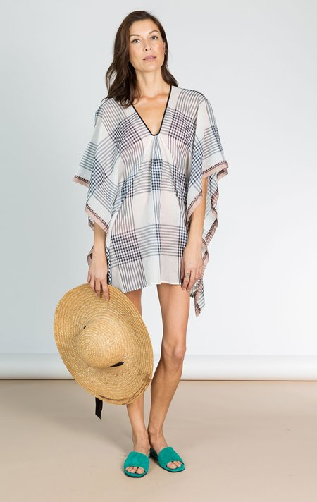 Two Short White Plaid Caftan