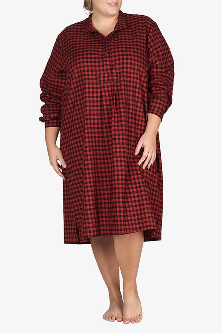 The Sleep Shirt Long Sleep Shirt - Red and Black Flannel - Plus Size