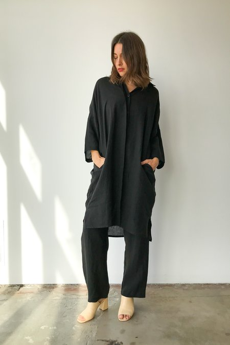 Unisex OR Linen Big Shirt In Black