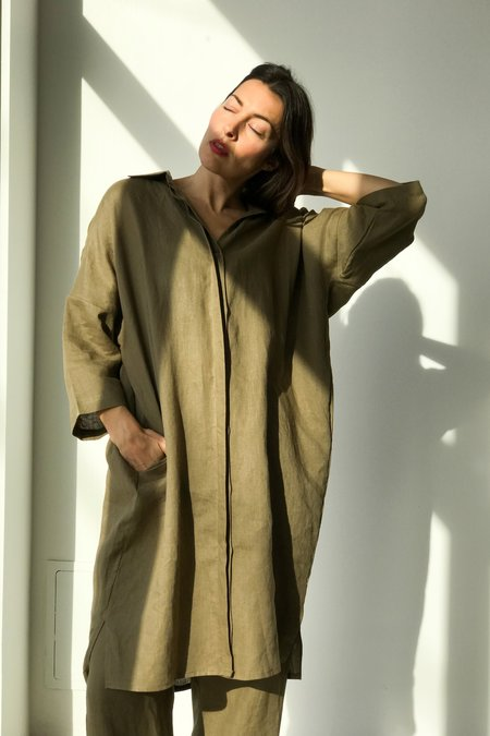 Unisex OR Linen Big Shirt In Olive