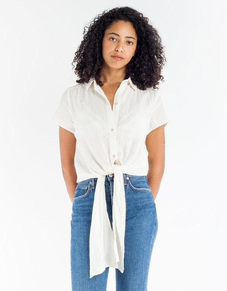 Rollas Lilah Tie Shirt - White