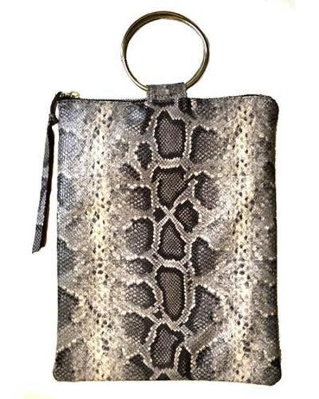 Oliveve Laine Brass Ring Bag In Mink Baby Python Cow Leather