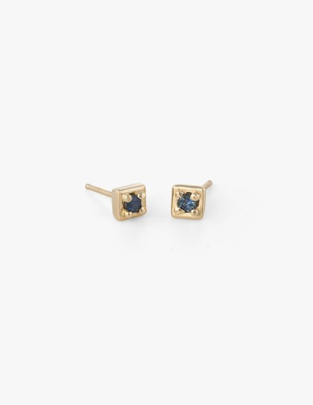 Kathryn Bentley Tiny Square Studs in Blue Sapphire