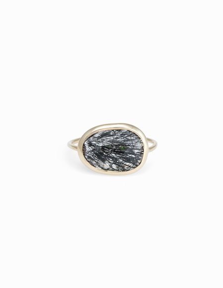 Kathryn Bentley Tourmalinalated Quartz Slice Ring - Black